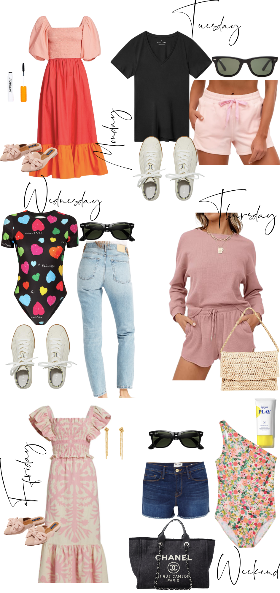 collage of A week of Outfits For Summer in Monterey, CA