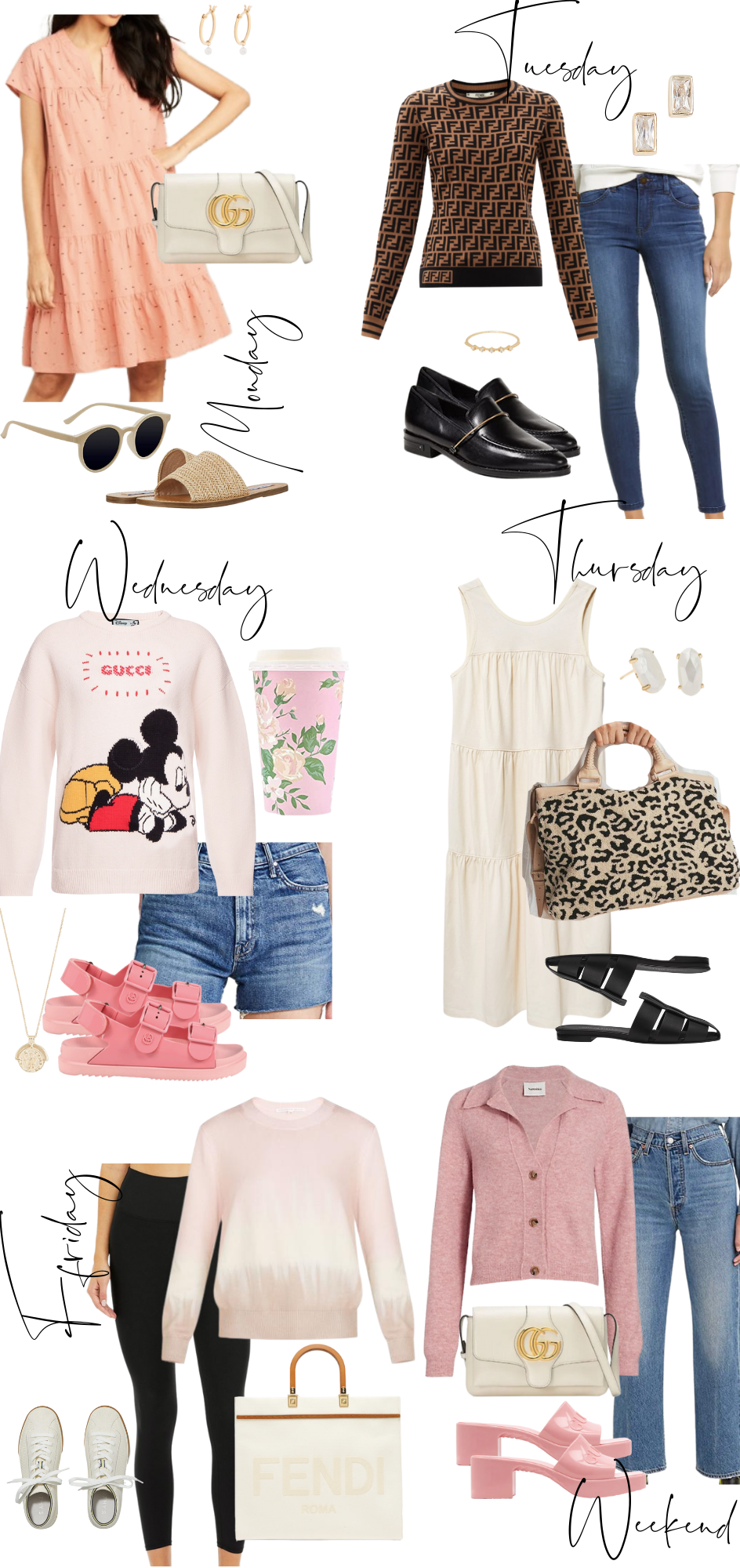 What to Pack by popular Monterey fashion blog, Haute Beauty Guide: collage image of pink sandals, gold coin pendant necklace, black slide mules, cream Gucci purse, Fendi handbag, denim shorts, Mickey Mouse sweater, floral print thermos, Kendra Scott studs, leopard print carpet bag, cream tiered maxi dress, pink and cream tie dye sweatshirt, black leggings, white Nike sneakers, jeans, pink collar sweater, pink block heel slide sandals, Fendi sweater, black loafers, gold and crystal ring, peach and brown dot tiered mini dress, tan frame sunglasses, and woven strap slide sandals.