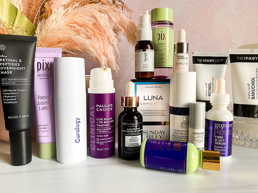 Breaking down The Differences Between Retinol, Retinoid, Vitamin A, and  Retinoic Acid.  How, when, and who should use Vitamin As. | Vitamin A Skin Care by popular Monterey beauty blog, Haute Beauty Guide: image of various skincare products.
