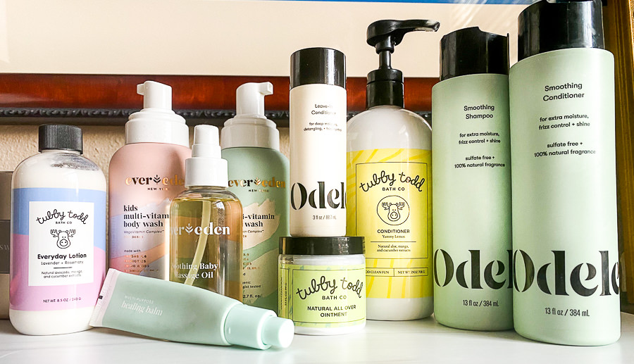 dry and sensitive skin care by popular Monterey beauty blog, Haute Beauty Guide: image fo Odele Smoothing Conditioner and Shampoo, Tubby Todd Conditioner, Tubby Todd Everyday Lotion, Ever Eden oil, Ever Eden multi-vitamin body wash, and Tubby Todd natural all over ointment.