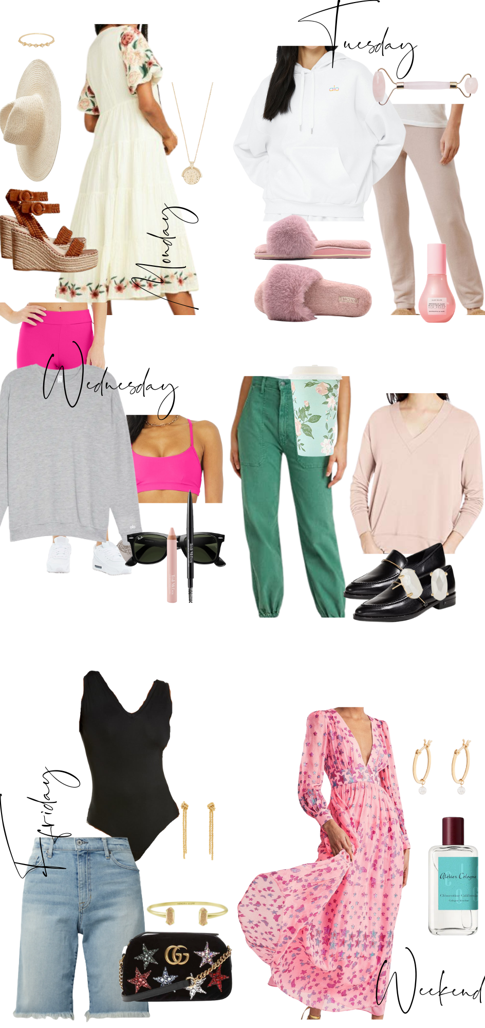 What to Wear by popular Monterey fashion blog, Haute Beauty Guide: collage image of a straw fedora hat, gold ring, brown strap espadrilles, gold coin necklace, cos quartz face roller, white hoodie sweatshirt, pink faux fur slippers, light pink jogger pants, pink leggings, cream floral embroidered dress, pink sports bra, grey sweater, black frame sunglasses, green pants, pink v-neck sweater, black loafers, black eyeliner, Kendra Scott earrings, pink lip liner, pink star print maxi dress, Gucci glitter star purse, denim Bermuda shorts, gold bracelet, gold chain statement earrings, black one piece swimsuit, and re-useable floral print coffee cup.