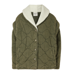 oversized faux shearling-trimmed