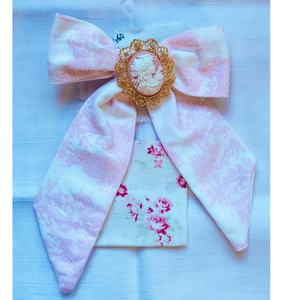 Pink Toile Bow With Cameo